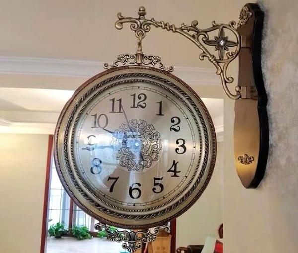 實木雙面掛鐘歐式鐘錶靜音客廳石英鐘兩面掛錶復古創意大時鐘-D6001