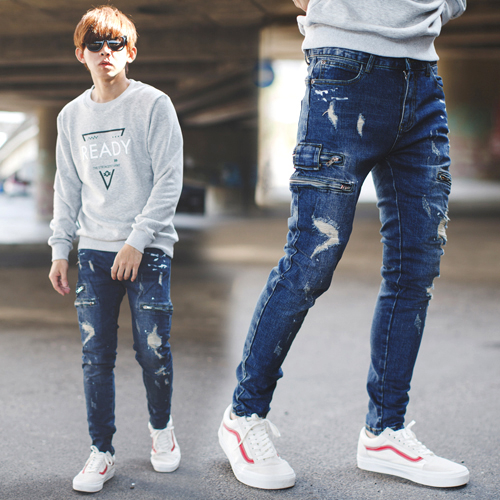 牛仔褲 韓國製油漆噴點刷破拉鍊口袋合身牛仔褲【NB0719J】