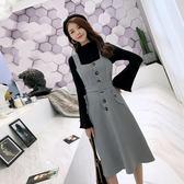 針織衫洋裝套裝秋冬韓版打底素色上衣格紋背帶裙連身裙1651