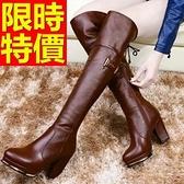 過膝馬靴-高跟純色粗跟皮革女長靴2色62l44【巴黎精品】