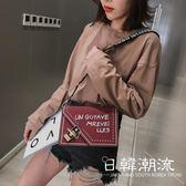 側背包  高級感包包洋氣學生韓版女包潮新款2019網紅小黑包質感斜挎小包女