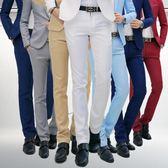 男士職業裝西褲男修身歐版商務西服褲子正裝青年韓版上班黑色男褲 【PINK Q】