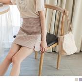 《CA2077-》輕甜系撞色格紋小開衩A字短裙 OB嚴選