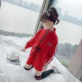 女童秋裝長袖連身裙2018新款韓版兒童春秋洋氣秋季大學T裙子潮衣服