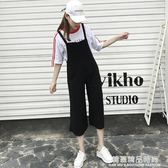 夏季新款女裝韓版寬鬆顯瘦黑色吊帶褲女學生休閒闊腿連體褲潮