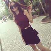 女士修身無袖上衣顯瘦高腰打底衫夏裝背心針織衫t恤漏臍短款緊身日系森林