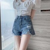 破洞牛仔短褲女夏裝新款韓國chic大碼胖MM高腰闊腿顯瘦a字熱褲子 茱莉亞