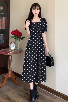 洋裝大碼連身裙韓版收腰長款連衣裙波點時尚開叉百搭2F041-C 胖妹大碼女裝
