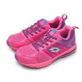 LIKA夢 LOTTO 輕量氣墊慢跑鞋 亮彩絢麗系列 粉紫橘 3653 大童