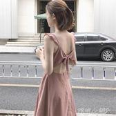 無袖洋裝 甜美少女小心機美背修身顯瘦純色無袖連身裙 傾城小鋪
