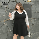 微透膚黑白撞色拼接袖 小V領 知性滿分 雪紡 與 純棉 異材質拼接 氣質出眾 自信優雅 的 約會洋裝