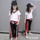 帥氣女童套裝 小女孩學生嘻哈中大童女童套裝半袖洋氣童裝韓版卡通大碼 qf5052【黑色妹妹】