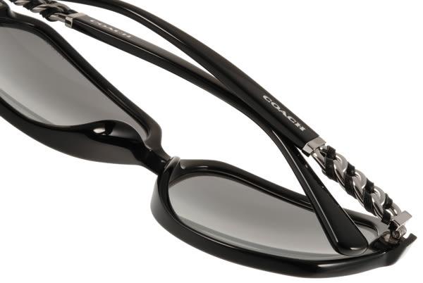 COACH 太陽眼鏡 COS8155QF 500211 (黑-銀) 高雅簡約皮革方框款 # 金橘眼鏡