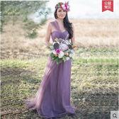 伴娘服長款姐妹裙春季2018新款晚禮服韓版晚裝禮服伴娘團伴娘裙(淺紫色)