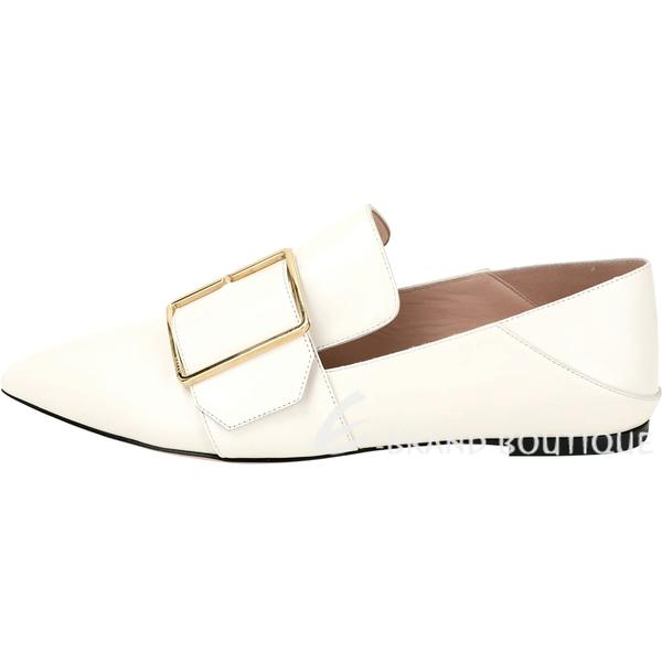 BALLY Hamelia 小牛皮穿釦設計尖頭拖鞋/樂福鞋(米白色) 1920543-03