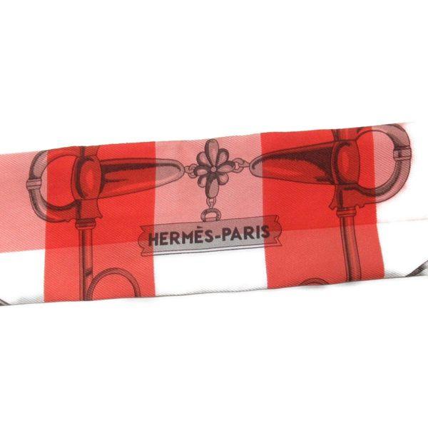 HERMES 愛馬仕 紅白色圖樣絲質絲巾 Twilly Scarf 【二手名牌BRAND OFF】