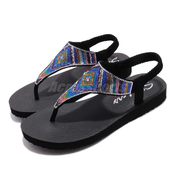 Skechers 涼拖鞋 Meditation-Gypsy Glam 黑 彩色 水鑽鞋面 女鞋 人字拖 夾腳 涼鞋【PUMP306】 31769BKMT