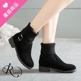 歐美個性麂皮毛線筒拼接彈性短靴/2色/35-43碼 (RX0363-H7099) iRurus 路絲時尚