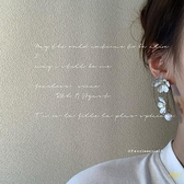 白色小蒼蘭兩朵花串珠耳環925銀針【輕奢時代】