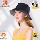 【ActionFox 挪威 抗UV快乾雙面漁夫帽《黑/灰藍格紋》】631-5277/漁夫帽/防曬帽/休閒帽