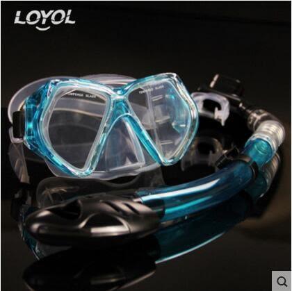 成人潛水鏡 浮潛三寶全乾式呼吸管套裝【水蘭款M1526+S14套裝】