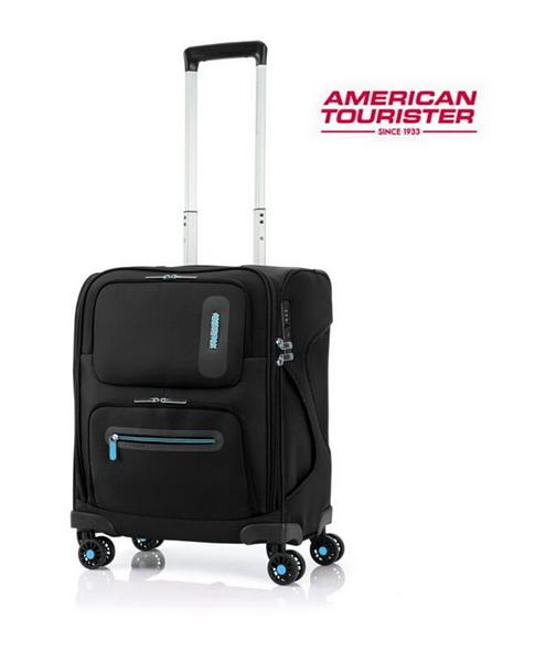 AT美國旅行者 新款18吋 MAXWELL 輕量布箱拉鍊 行李箱/登機箱-(黑) HA6