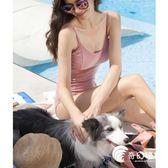 連體泳衣-新款韓國bikini氣質粉保守顯白顯瘦遮肚小胸三角連體游泳-奇幻樂園