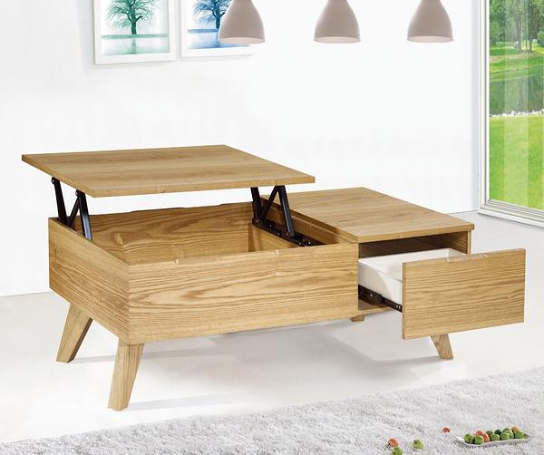 【森可家居】貝拉3.6尺栓木升降茶几 7JF263-2 原木色 木紋質感 無印北歐風