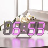 (現貨)現代客廳掛墻鐘多功能3D立體數字鐘夜光床頭電子鬧鐘