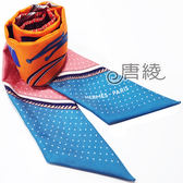 【Hermes 愛馬仕】輪胎機械繽紛造型Twilly絲巾/領結(藍X粉色)
