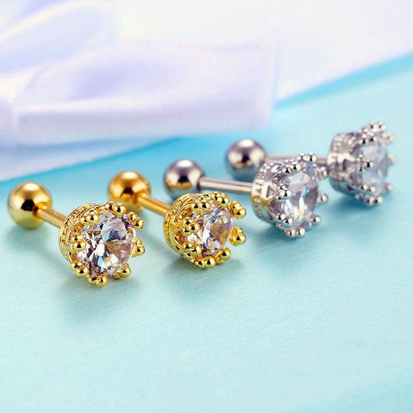 【5折超值價】情人節禮物最新款時尚精美經典鑲鑽造型銅鍍18K金鍍白金女款耳飾