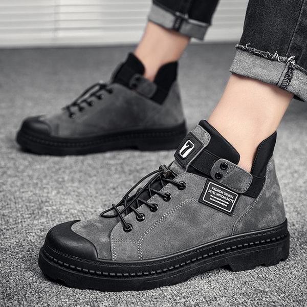 新款秋季男鞋加絨保暖冬季男士休閒皮鞋棉鞋板鞋百搭馬丁潮鞋 優拓
