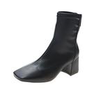 靴子女短靴秋季新款韓版ulzzang百搭粗跟方頭裸靴瘦瘦靴女鞋 風尚