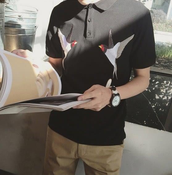 【找到自己】韓國 刺繡 小鳥 燕子 POLO衫 上衣 短袖 質感 高端設計 動物 老虎 設計