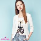 【SHOWCASE】韓版修身單釦七分袖小西裝外套(白)