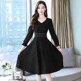 依Baby 洋裝 雪紡連身裙春夏新款裝收腰顯瘦氣質長袖流行春秋黑色裙子