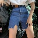 破洞牛仔褲女 2021新款 夏季 高腰 寬鬆 闊腿 短褲 網紅 復古 直筒 A字褲子
