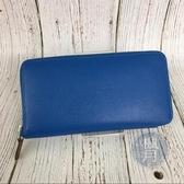 BRAND楓月 HERMES 愛馬仕 X刻 藍色皮革 絲巾內裡 長夾 錢包 發財夾