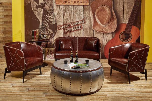 【森可家居】亞瑟工業風咖啡皮沙發─單人座 7JF151-1 美式休閒復古LOFT 一人位 仿舊