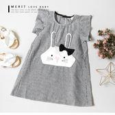 純棉 棉麻格紋蝴蝶結兔子荷葉袖長版上衣 連身裙 日系 哎北比童裝