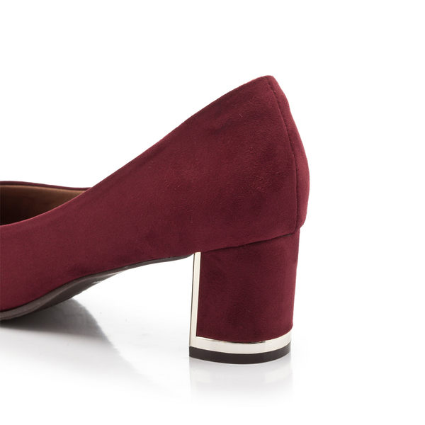 【Fair Lady】優雅小姐Miss Elegant 格紋尖頭粗跟鞋 酒紅