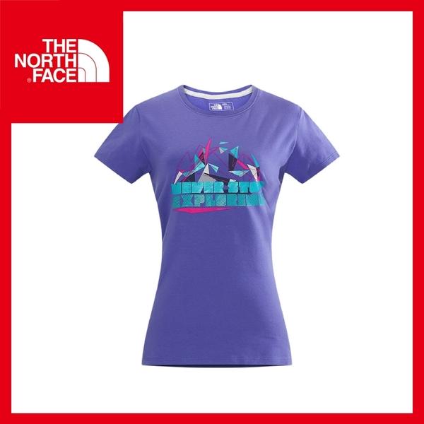 【The North Face 女 LOGO 風格T-Shirt《星空紫》】CNJ1/舒適/休閒/戶外/短T