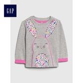 Gap女嬰兒 妙趣圖案圓領長袖休閒上衣 494295-亮麻灰色