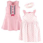 美國Luvable Friends 女寶寶 短袖裙子&連身裙&髮飾 三件式套裝 粉菱格【LU55223】