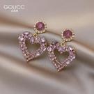 耳釘 紫色桃心耳釘女925銀針耳墜潮耳環簡約韓國氣質網紅耳飾 星河光年