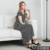 【天母嚴選】休閒條紋配色彈力棉質連身長洋裝(共二色)