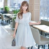 洋裝-短袖清新珍珠扣繫帶百褶女連身裙73nj76[巴黎精品]