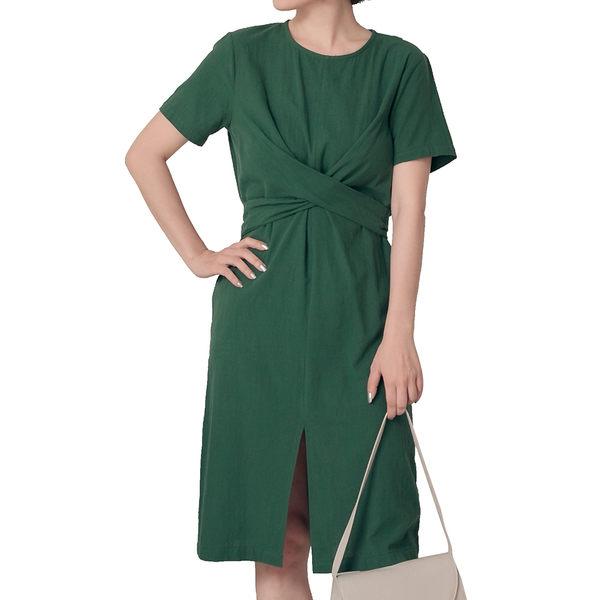 東京著衣【KODZ】KODZ-都會女性扭結設計前開岔洋裝-S.M.L(190621)
