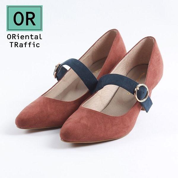 【ORiental TRaffic】復古雙色圓釦皮帶中跟鞋-溫柔咖