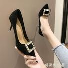 鞋子女2021新款春季時尚百搭水鑚方扣小清新高跟鞋女細跟尖頭單鞋 璐璐
